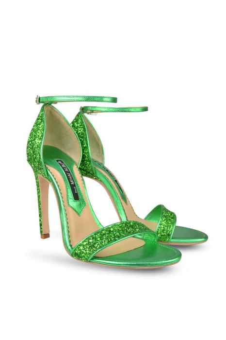 Sandale Mihai Albu din piele Emerald Green Glitter 1
