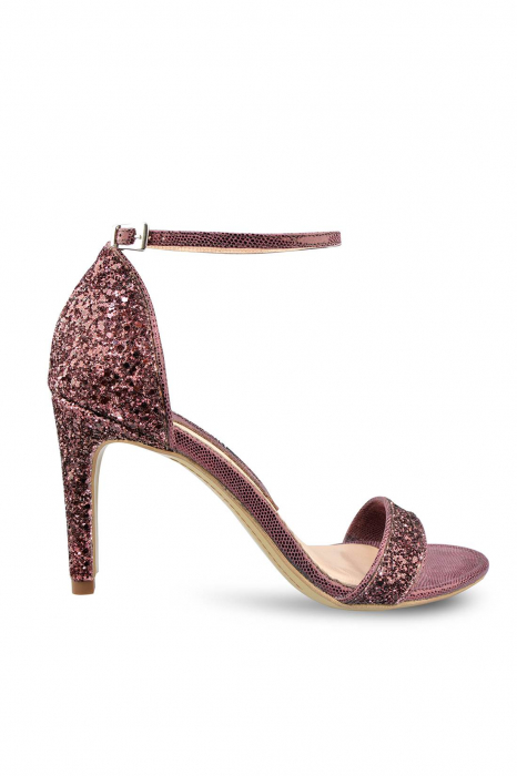 Sandale Mihai Albu din piele Burgundy Glitter 0