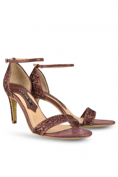 Sandale Mihai Albu din piele Burgundy Glitter 1