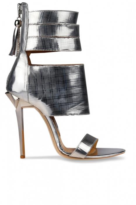 Sandale Mihai Albu din piele cu fermoar decorativ Silver Stealth 0