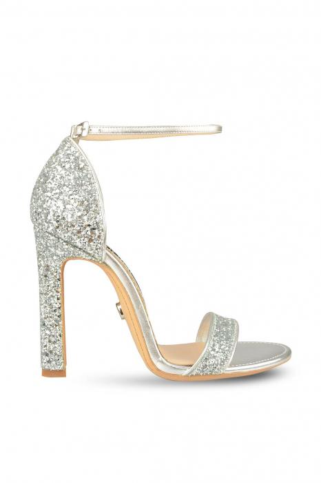 Sandale Mihai Albu din piele High Silver Glitter 0