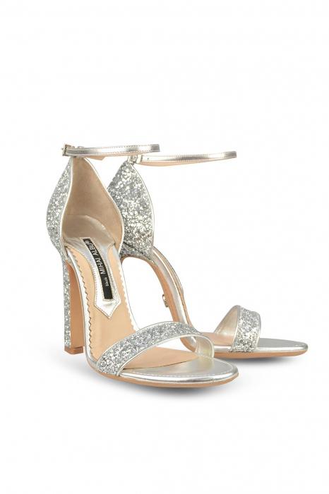 Sandale Mihai Albu din piele High Silver Glitter 1