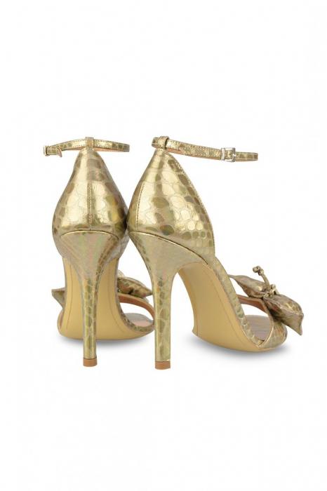 Sandale Mihai Albu din piele metalizata Gold Butterfly 2