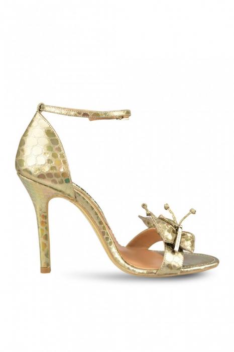 Sandale Mihai Albu din piele metalizata Gold Butterfly 0