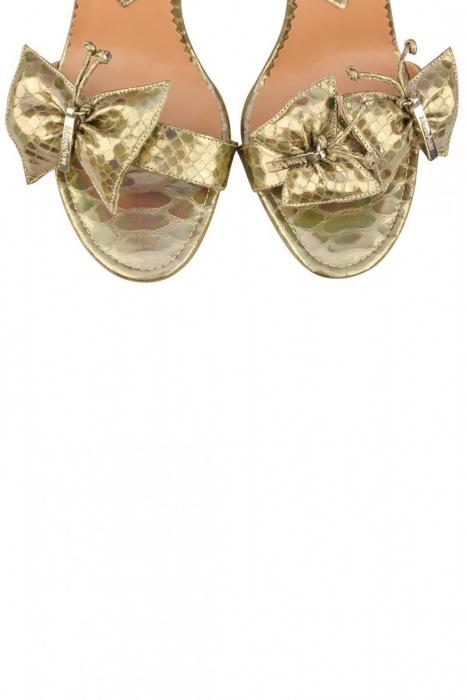 Sandale Mihai Albu din piele metalizata Gold Butterfly 3