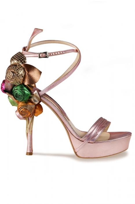 Sandale Mihai Albu din piele Pink Flowers 0