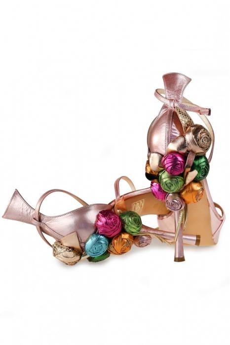 Sandale Mihai Albu din piele Pink Flowers 1