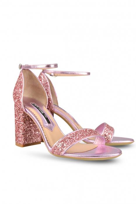 Sandale Mihai Albu din piele Pink Glitter 1