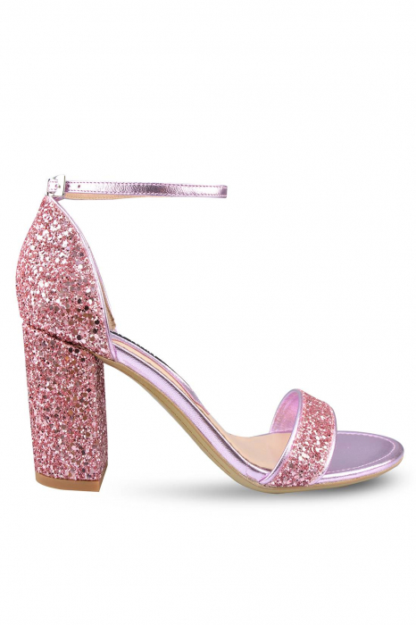 Sandale Mihai Albu din piele Pink Glitter 0
