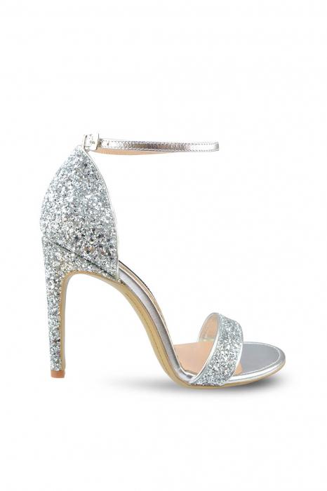 Sandale Mihai Albu din piele Silver Glitter 0