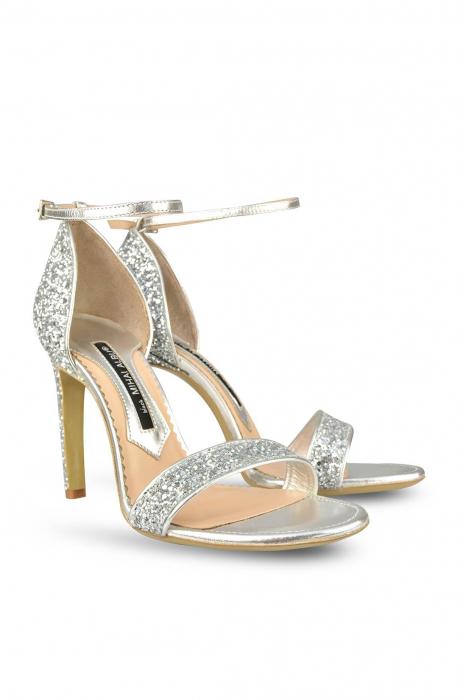 Sandale Mihai Albu din piele Silver Glitter 1