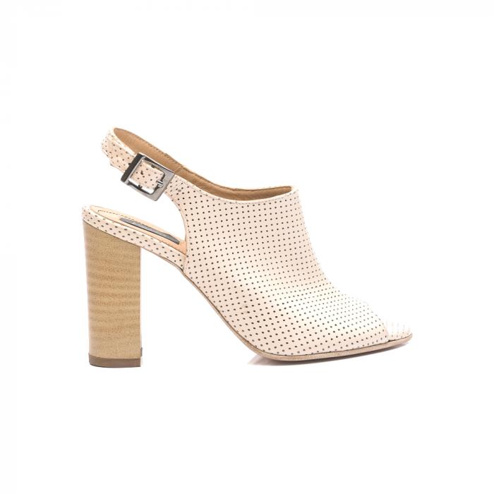 Sandale nude cu toc gros din piele perforata [0]