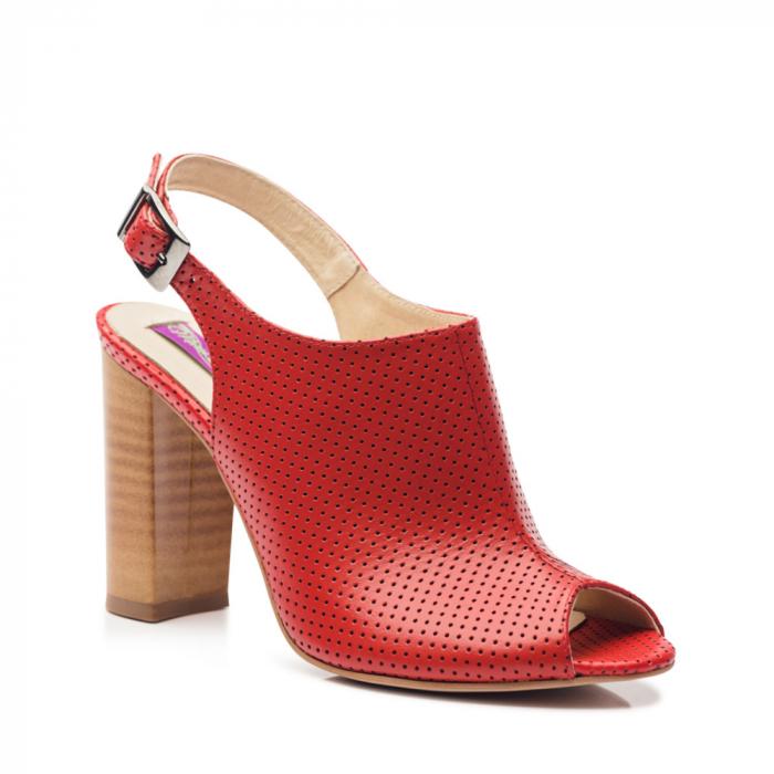 Sandale rosii cu toc gros din piele perforata 1