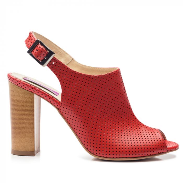 Sandale rosii cu toc gros din piele perforata 0