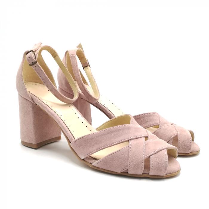 Sandale peep-toe cu toc gros din piele intoarsa Nude Dante 1