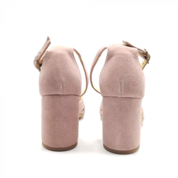 Sandale peep-toe cu toc gros din piele intoarsa Nude Dante 4