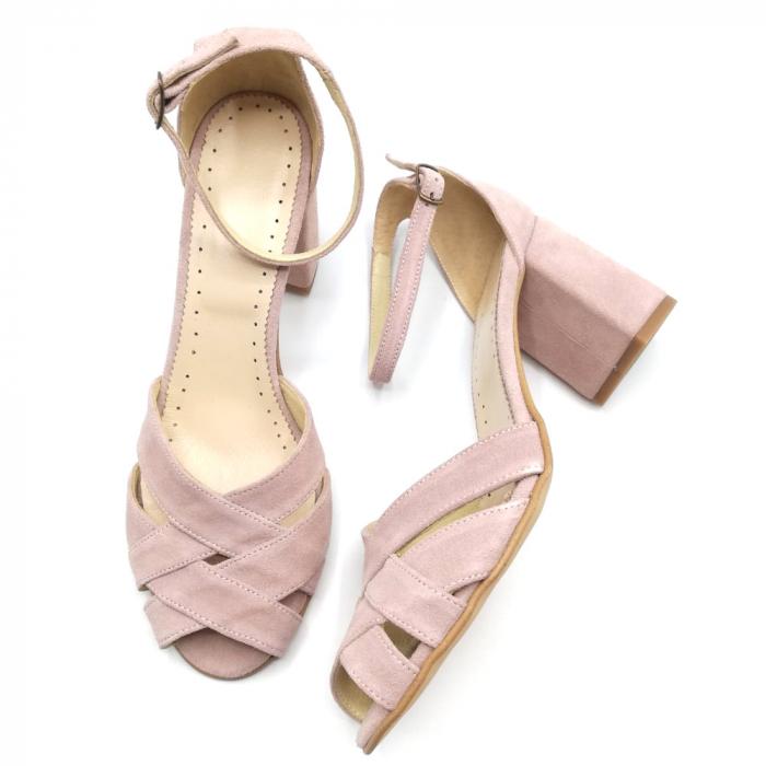 Sandale peep-toe cu toc gros din piele intoarsa Nude Dante 3