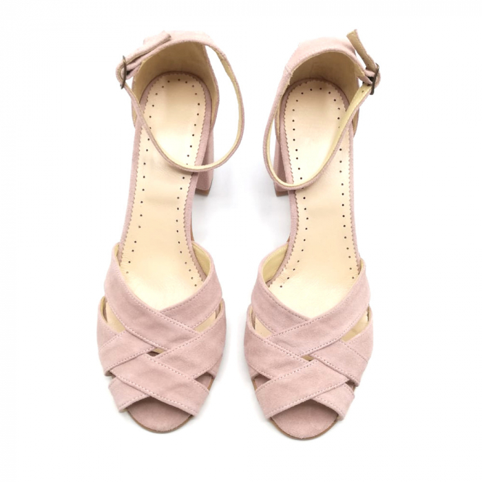 Sandale peep-toe cu toc gros din piele intoarsa Nude Dante 2