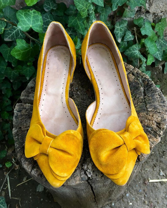 Balerini din piele intoarsa cu funda Yellow Dream 1