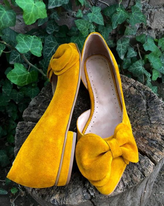 Balerini din piele intoarsa cu funda Yellow Dream 2