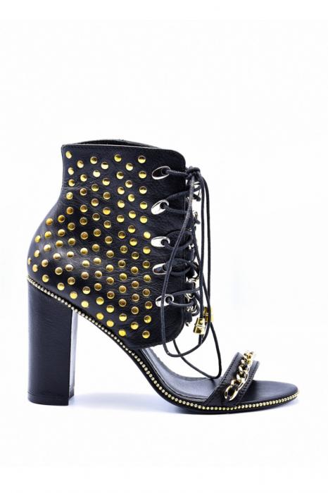 Sandale dama din piele cu tinte Gold Verona