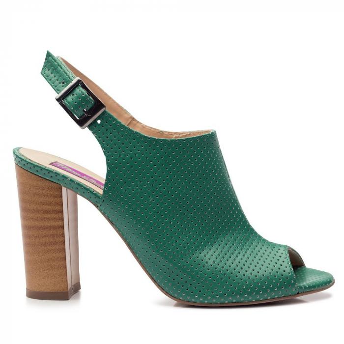 Sandale verzi cu toc gros din piele perforata 0