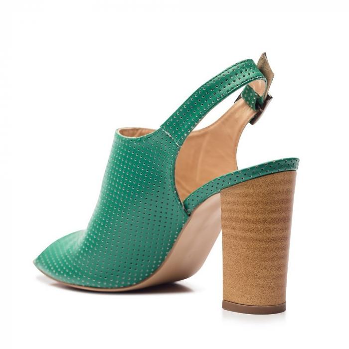 Sandale verzi cu toc gros din piele perforata 3