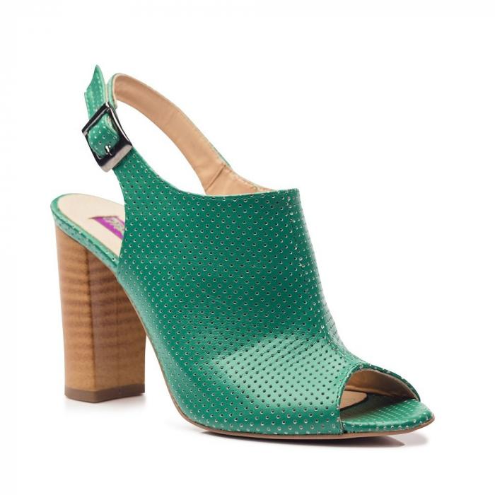 Sandale verzi cu toc gros din piele perforata 2