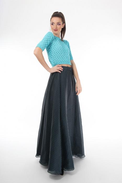 Top dama tricotat turcoaz si maneci trei sferturi 1