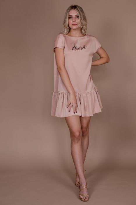 Rochie baby-doll Zana roz cu umeri structurati si volan 0