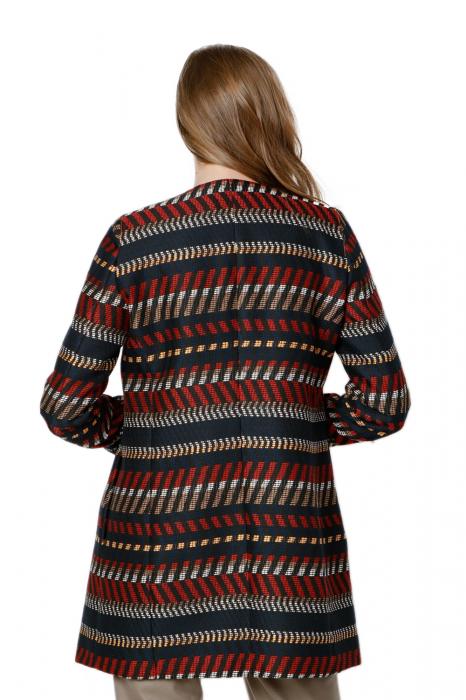 Pardesiu dama din stofa cu imprimeu multicolor Asmal 2