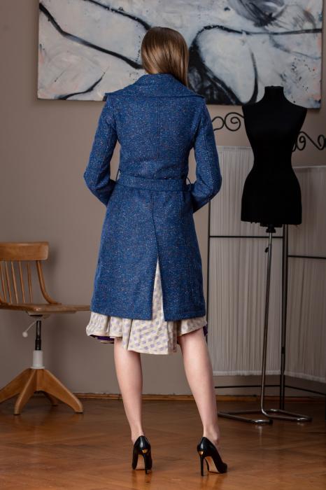 Trench dama din lana pipit albastru Verona 3