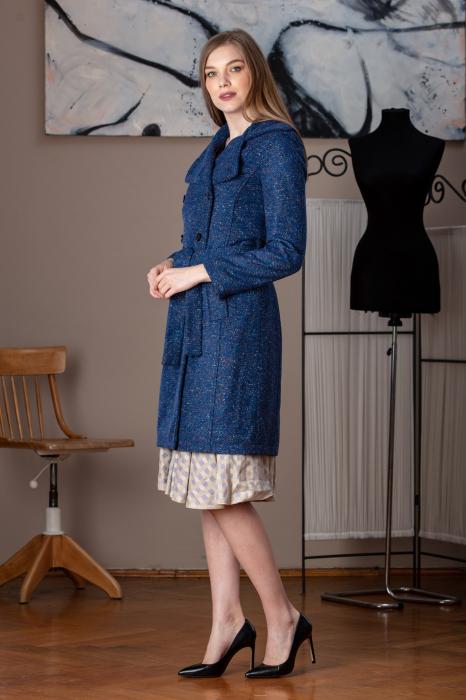 Trench dama din lana pipit albastru Verona 1