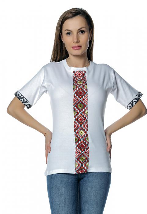 Tricou dama alb cu insertii motive traditionale printate B128 0