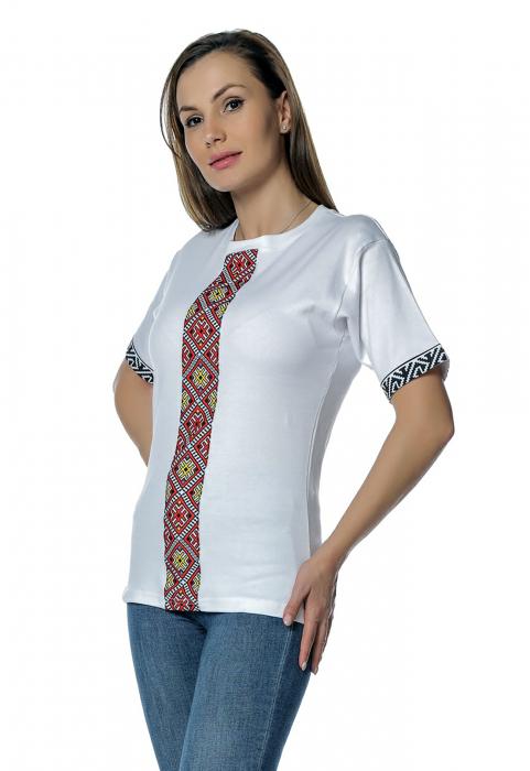 Tricou dama alb cu insertii motive traditionale printate B128 1
