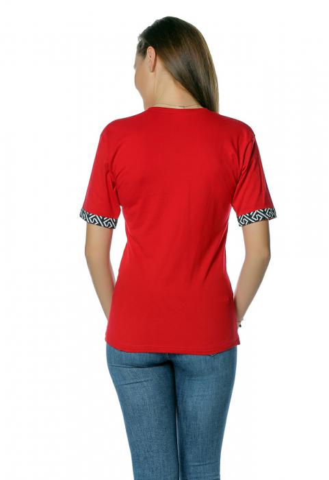 Tricou dama rosu cu insertii motive traditionale printate B130 2