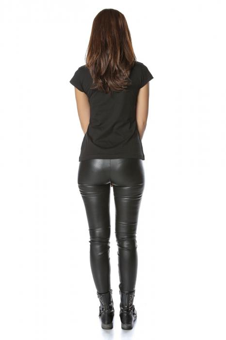 Tricou negru din bumbac cu broderie traditionala Inimosul
