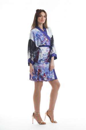 Kimono dama din vascoza cu imprimeu abstract [2]