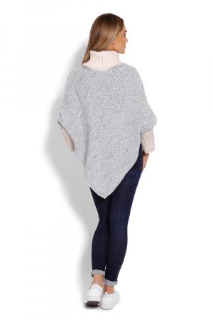 Poncho dama tricotat cu maneci lungi Gri