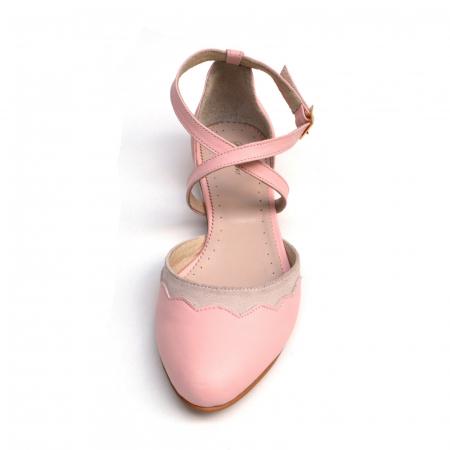 Balerini din piele roz cu barete incrucisate2