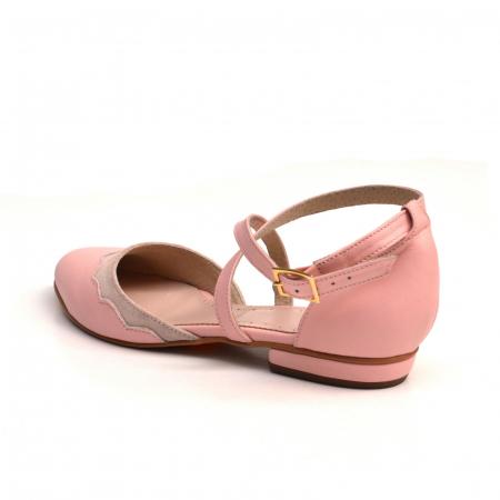 Balerini din piele roz cu barete incrucisate1