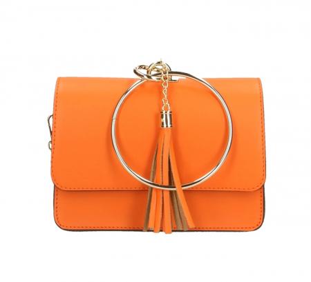 Geanta casual din piele naturala Orange Ring0