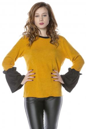 Bluza galbena din jerse cu volane aplicate la maneci B1140