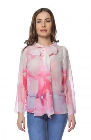 Bluza dama din voal imprimat Pink B1220
