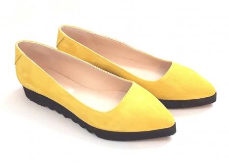 Balerini din piele Yellow Cora0
