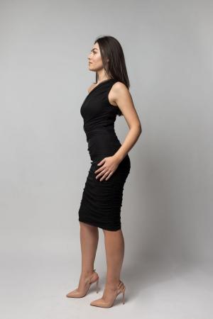 Rochie eleganta din tulle negru cu un umar gol2