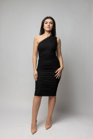 Rochie eleganta din tulle negru cu un umar gol0