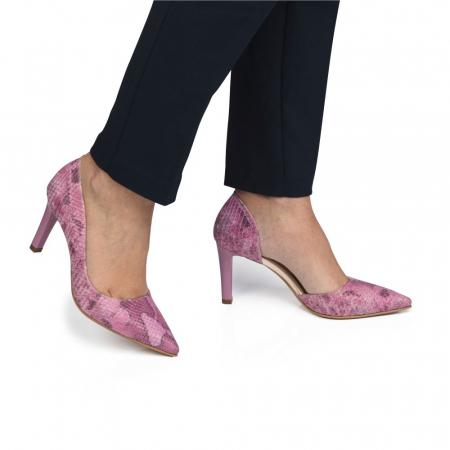 Pantofi dama stiletto snake print roz CA10
