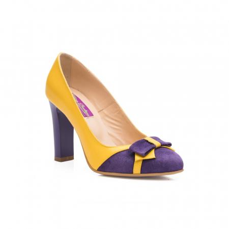 Pantofi eleganti galbeni cu insertie mov din piele CA28 [2]