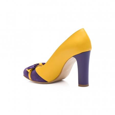 Pantofi eleganti galbeni cu insertie mov din piele CA28 [3]